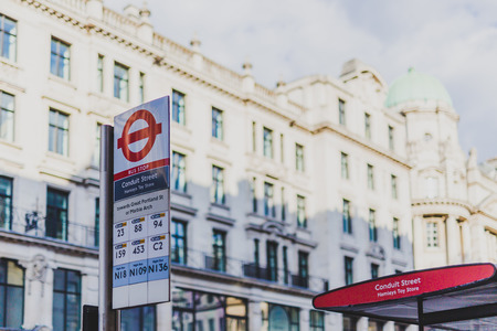 LONDON, UNITED KINGDOM - August 13th, 2018: Conduit Street bus stop in London city centre