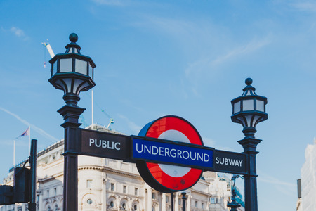 LONDON, UNITED KINGDOM - August 21st, 2018: underground sign in London city centre in Piccadilly circus