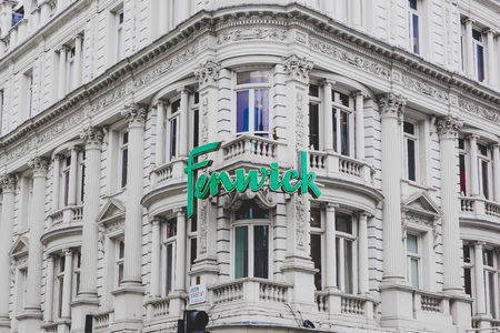 LONDON, UNITED KINGDOM - August 22nd, 2018: facade of the Fenwick department Store in London city centre