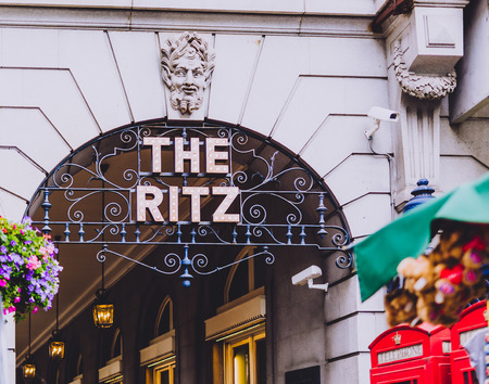 LONDON, UNITED KINGDOM - August 17th, 2018: facade of he Ritz hotel in London city centre in Piccadilly Editorial