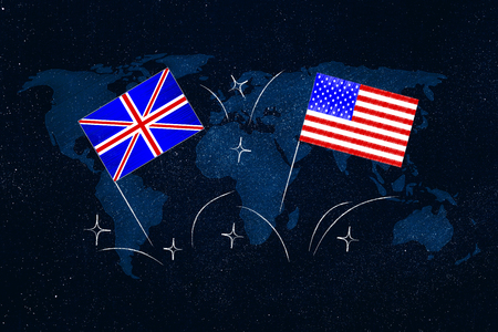 ESL education conceptual illustration: british and american flags symbol of studying english as foreign language with world map overlay below