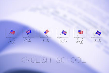 ESL education conceptual illustration: british and american flags symbol of studying english as foreign language on students desks