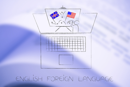 ESL education conceptual illustration: teacher and whiteboard with british and american flags symbol of studying english as foreign language popping out of laptop screen Stockfoto - 108303891