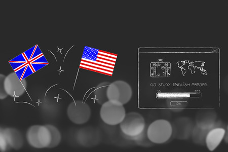 ESL education conceptual illustration: british and american flags symbol of studying english as foreign language next to Go Study abroad pop-up 写真素材