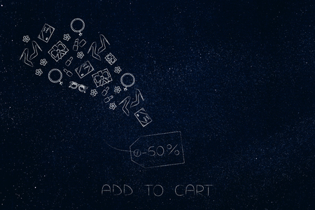 add to cart conceptual illustration: price tag with 50 per cent off and products flying in or out of it