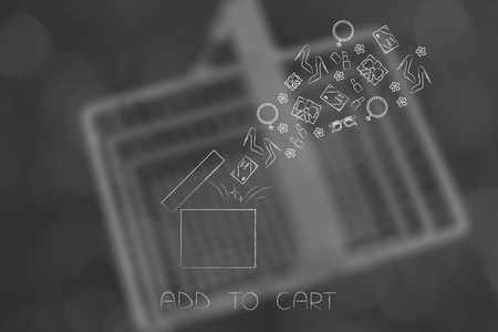 add to cart conceptual illustration: parcel with items purchased flying out of it Stock Photo