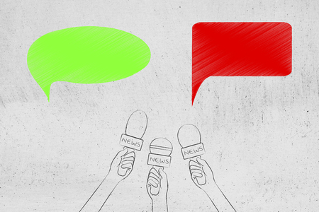 mass media comunication conceptual illustration: news microphones with green and red comic bubbles representing positive and negative opinions