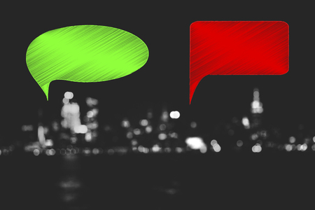 positivity and negativity conceptual illustration: green and red thoughts representing good and bad feelings or ideas