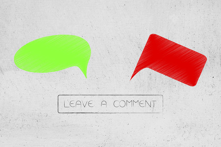 social media communication conceptual illustration: green and red positive or negative comic bubbles with Leave a comment button