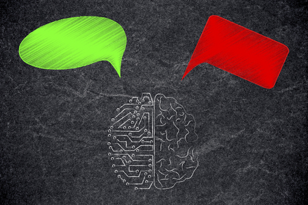 positivity and negativity conceptual illustration: half human half circuit brain with green and red thoughts representing good and bad feelings or ideas Stock Photo