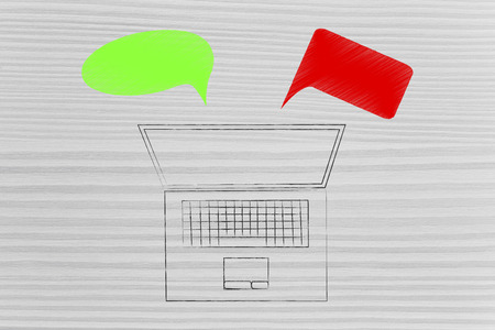 positivity and negativity conceptual illustration: laptop with green and red comments representing good and bad feedback