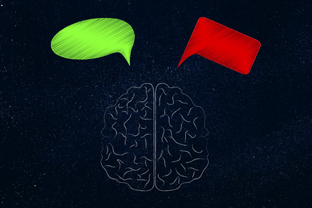 positivity and negativity conceptual illustration: brain with green and red thoughts representing good and bad feelings or ideas