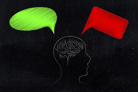 positivity and negativity conceptual illustration: person profile with brain outline and with green and red thoughts representing good and bad feelings or ideas