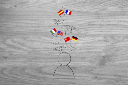 studying foreign languages conceptual illustration: student with flags and graduation hats above his head