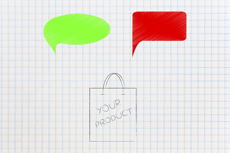 customer feedback conceptual illustration: product packaging with green and red comic bubbles representing good and bad reviews