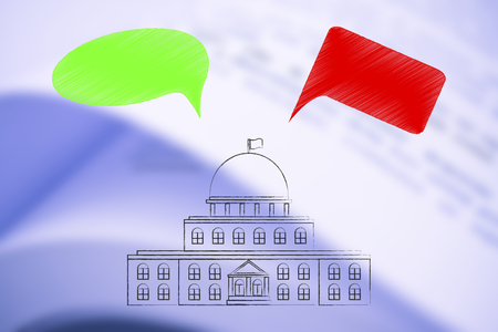 political opinions conceptual illustration: governemnt building with green and red comic bubbles representing opposite parties and their views