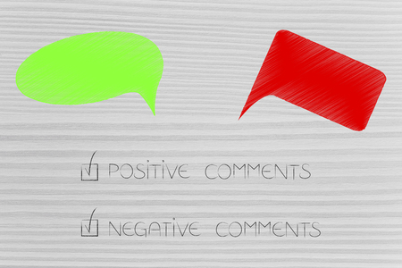social media communication conceptual illustration: green and red comments with positive and negative text ticked off