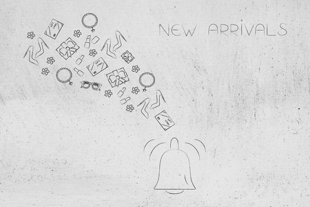online shopping conceptual illustration: new arrivals notification bell icon with products flying out of it