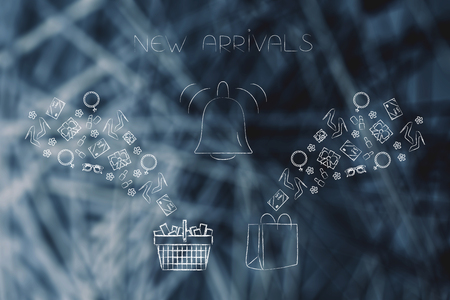 online shopping conceptual illustration: new arrivals notification with shopping basket and bags with products flying into them Stock Photo