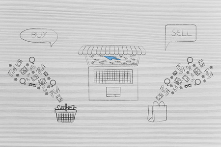 online shopping conceptual illustration: buy and resell products shopping basket and bags with items flying into and out of them and laptop with online platform in between