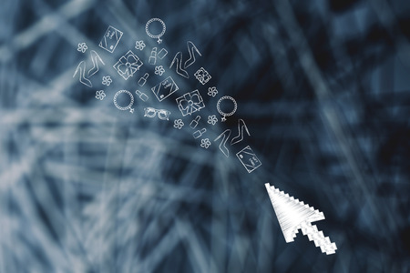 online shopping conceptual illustration: mouse cursor and products flying towards it