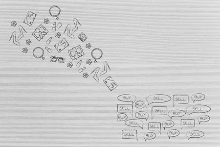 online shopping conceptual illustration: group of buy and resell comic bubbles with products flying in or out of it