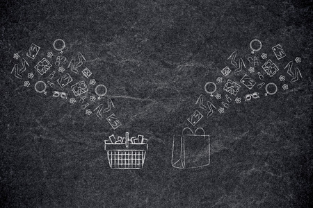online shopping conceptual illustration: shopping basket and bags with products flying into them
