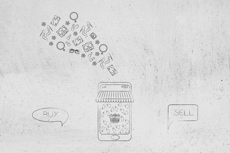 vintage items exchange on the web conceptual illustration: buy and resell products comic bubbles with online shopping platform on smartphone screen and products flying out of it