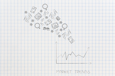 online shopping conceptual illustration: market trends stats and products flying out of it