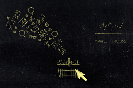 online shopping conceptual illustration: shopping basket with products flying out and cursor on it and market trend next to it