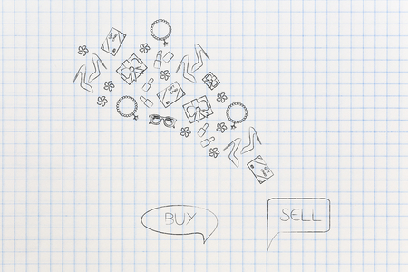online shopping conceptual illustration: buy and resell products comic bubble with items flying into or out of them Stock Photo