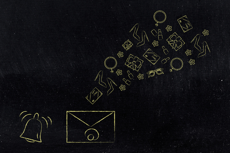online shopping conceptual illustration: notification icon and email envelope with products flying out of it