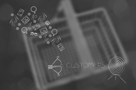 online shopping conceptual illustration: customer target and arrow and products flying out of it