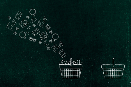 online shopping conceptual illustration: shopping basket with products flying out of them and one empty one apart