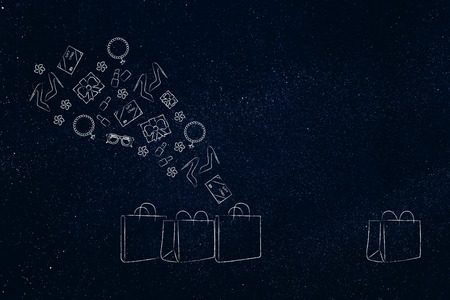 online shopping conceptual illustration: group of shopping bags with products flying out of them and one empty one apart Stock Photo