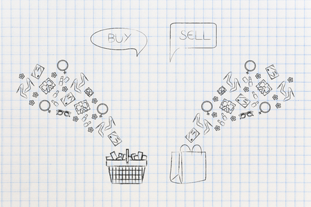 online shopping conceptual illustration: buy and resell products shopping basket and bags with items flying into and out of them