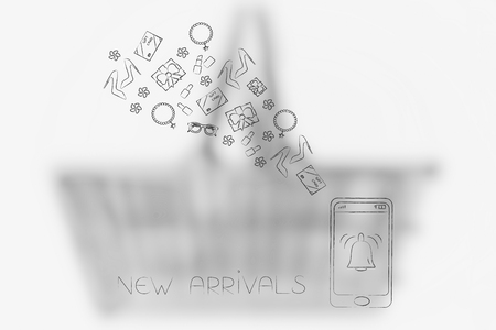 online shopping conceptual illustration: new arrivals notification bell on smartphone screen with products flying out of it