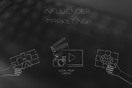 social media marketing conceptual illustration: influencer digital content with PR gifts being handed at it