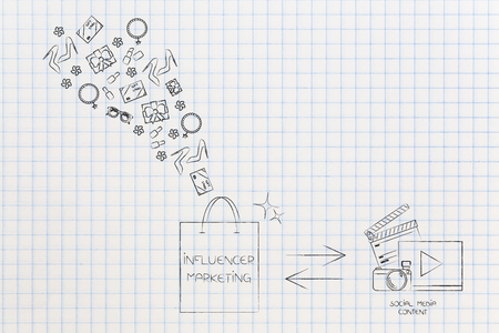social media marketing conceptual illustration: influencer bag with gifts and digital content being published to promote items