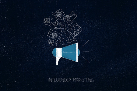 social media marketing conceptual illustration: influencer megaphone metaphor with gifts and PR items above