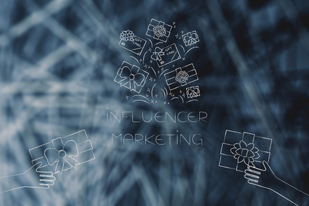 social media marketing conceptual illustration: influencer marketing texts with hands giving gifts and other presents above it