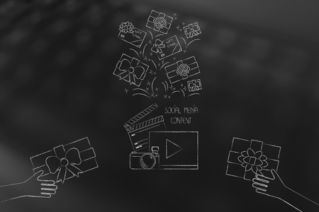 social media marketing conceptual illustration: digital content and PR items above and hands giving gifts to influencers