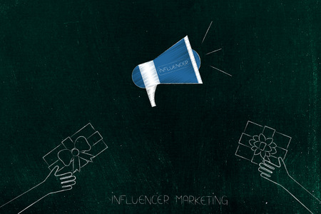 social media marketing conceptual illustration: influencer megaphone metaphor with gifts being handed at it