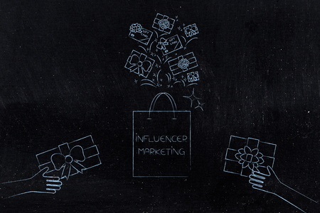 social media marketing conceptual illustration: influencer bag of gifts with items flying into it and hands handing presents Stock Photo