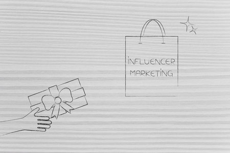 social media marketing conceptual illustration: influencer marketing shopping bag and hand giving gift