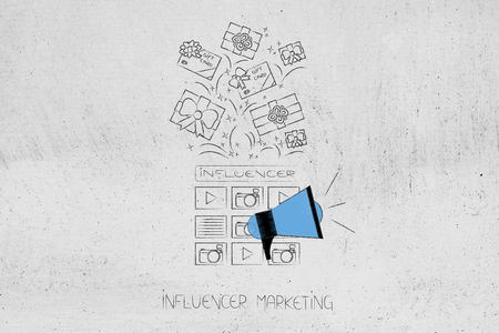 social media marketing conceptual illustration: influencer website and megaphone metaphor with gifts and PR items above