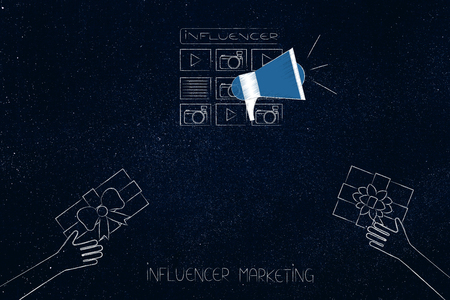 social media marketing conceptual illustration: influencer website and megaphone metaphor with gifts being handed at it Stock Photo