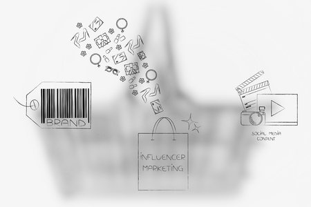 social media marketing conceptual illustration: brand icon and digital content with influencer bag and gifts flying into it