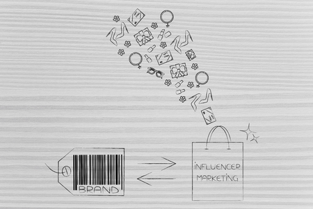 social media marketing conceptual illustration: from brand to influencer bag full of gifts for promotion Stock Photo