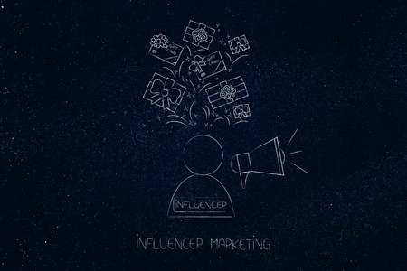 social media marketing conceptual illustration: influencer with megaphone and gifts and pr items above him